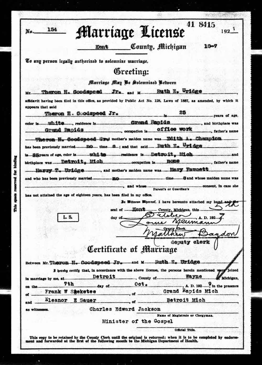 Uridge euridge one name study marriage certificate of ruth e marriage certificate of ruth e uridge and theron h goodspeed 7 october 1929 detroit wayne county michigan usa aiddatafo Choice Image